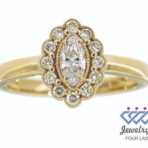Solid Halo Diamond Fancy Marquise Ring Yellow Gold